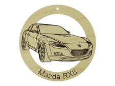 Mazda RX8 Natural Maple Solid Hardwood Ornament Sanded Finish Laser Engraved