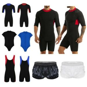 Men's Ultra Stretch Swimwear Half Sleeves Wetsuit Shorts Swimming Diving Suits