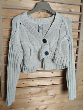 Women's Chunky Cable Knitted Cardigan 2 Button Long Sleeves Crop Top Short