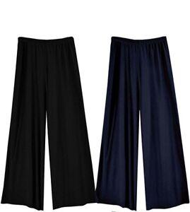 Womens Stretch Lycra Wide Smart Palazzo Pants Trousers Black Navy Plus Size
