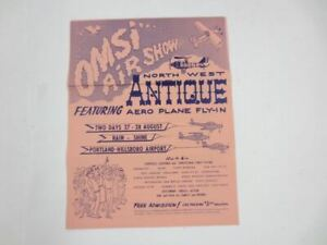 Vintage 1960's OMSI AIR SHOW Northwest Antique Aero Plane Fly-In Brochure Oregon