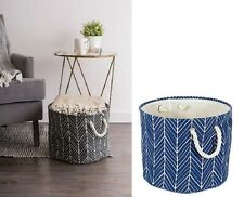 Bin Organizers And Storage Toy Basket For Blankets Black Blue Round Container