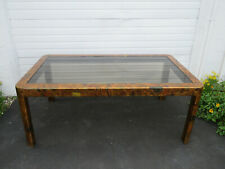 Paul Evans Style Patchwork Metal Dining Table with Smoked Glass Top 9634