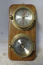 Ship's Clock Time Quartz Accuracy Heavy Brass Porthole Clock & Barometer