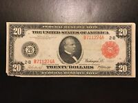 1914 $20 Red Seal Twenty Dollar Federal Reserve Bank Note FR.953 Very Fine XF