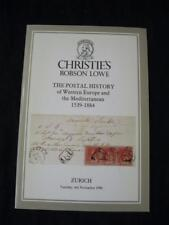 CHRISTIES LOWE AUCTION CATALOGUE 1986 POSTAL HISTORY OF WESTERN EUROPE AND MED.