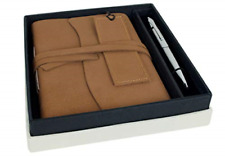 Indra Large Brown Handmade Wrap Gift Set Journal Plain Pages (17cm X 17cm 2cm)