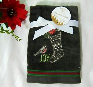 2x Christmas Face Tip Towels Dark Green Super Soft Plushy Cotton Embroidered