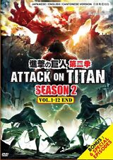 DVD Anime Attack On Titan Season 2 (1-12 End) + 6 Special Bonus English Version