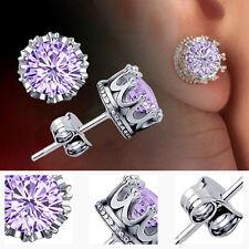 New Women's Elegant Silver Plated Rhinestone Crown Charm Ear Stud Earrings