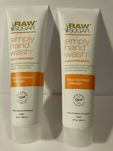 Lot of 2 RAW SUGAR RAW COCONUT MANGO SIMPLY HAND WASH  9 OZ Sealed