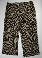 """Travelers by Chicos Animal Print Slinky Wide Leg Pants Inseam 26"""" Size 3"""