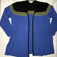 Exclusively Misook Size Medium Blue Black Cardigan Open Front