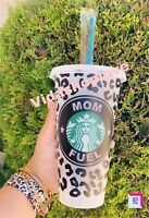 Venti starbucks Leopard print reusable cold cup Custom Saying different colors