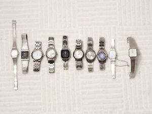 Lot of 10 Women Seiko Automatic Quartz Watches Date Day Stainless Steel Silver