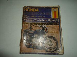1973 Haynes Honda 400 550 Fours 408cc 544cc Dueños Taller Manual Dañada Mancha