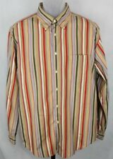 Tommy Hilfiger Vintage Fit Striped Multi Color Long Sleeve Men's Shirt Large