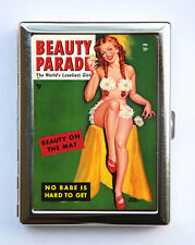 Pin up pinup Flower Bikini Cigarette Case Wallet Business Card Holder rockabilly