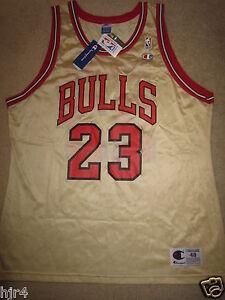 Michael Jordan #23 Chicago Bulls Oro NBA Champion Maglia 48 XL Nwt Nuovo