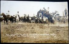 ** COWBOY RODEO~1919 CHEYENNE WY~BUD TIMMONS ON HOLY SMOKE ~ Doubleday  RPPC