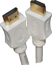 3m Câble HDMI haute vitesse avec Ethernet v1.4 full HD HDTV 4K 3D Arc gold blanc