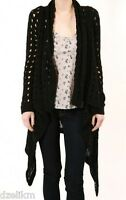 NWT TEXTILE Elizabeth and James Cotton Loose Knit Open Cardigan Black XS/S