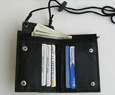 BLACK GENUINE LEATHER WALLET ID Window Pocket Card Money Holder Zip Neck Strap