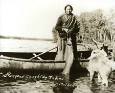 Native American Ojibwa Mother Catches Huge Sturgeon Birch Bark Canoe Dogs LOOK