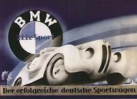 1940 Print Poster  Vintage german  bmw Car art deco  Canvas Framed