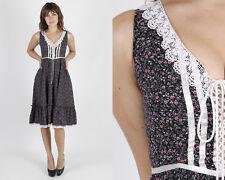 Vintage 70s Gunne Sax Dress Black Calico Floral Lace Hippie Boho Midi Mini S