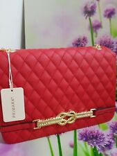 PRIMARK RED CLUTCH LADIES BAG WITH GOLD  CHAIN STRAP