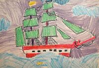 Vintage fauvist seascape ship pastels painting