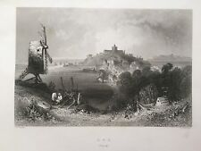 1841 Antique Print; View of Rye, Sussex after Bartlett