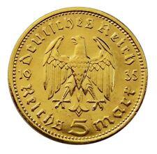 ++ 5 Reichsmark 1935 - Hindenburg - 24 Karat vergoldet ++