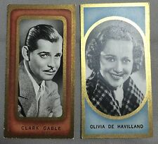2 1938 Olivia de Haviland & CLARK GABLE Tobacco Trading Card Carreras Film #5 #1