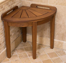 Corner Shower Seat Solid Wood Bench Real Teak Bathroom Stool With Handles Sturdy