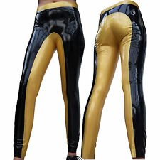 Enge Latex Reithose, Latex Leggings, Reitleggings, Reiterhose, schwarz/gold Gr.L