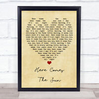 Here Comes The Sun The Beatles Vintage Heart Quote Song Lyric Print