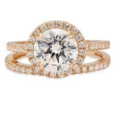 Ring Band set 14k Yellow Gold 2.72ct Round Halo Pave Moissanite Promise Bridal
