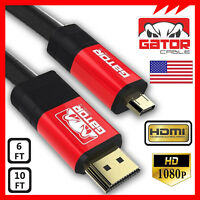 Micro HDMI to HDMI Cable Adapter Converter 4K GoPro 4 5 HERO 3 HTC EVO 4G 120Hz