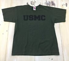 US MARINES - Vtg USMC Dark Green Stencil Military PT Gym T-Shirt, Mens LARGE