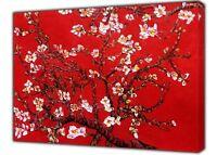 VAN GOGH  ALMOND TREE BLOSSOM PAINT RED REPRINT ON FRAMED CANVAS WALL ART