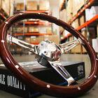 380mm Chrome Dark Steering Wheel Real Wood Riveted Grip 15 - 6 Hole