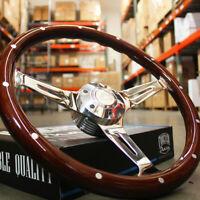 """380mm Chrome Dark Steering Wheel Real Wood Riveted Grip (15"""") - 6 Hole"""
