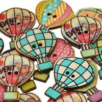 Handmade DIY Crafts Fire Balloon Pattern Wooden Scrapbooking Sewing Buttons