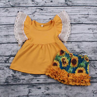 US Toddler Kids Baby Girl Summer Clothes T-shirt Tops+Floral Pants Shorts Outfit