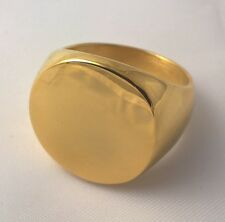 G-Filled 18ct yellow gold plain round Men's signet ring Gent's USA size 12 AUS Y