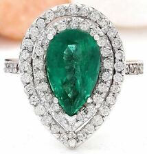 4.18 Carat Natural Emerald and Diamond 18K White Gold Engagement Ring