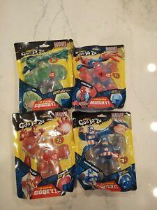 Heroes Of Goo Jit Zu Marvel Hulk Iron Man Captain America Spiderman Lot of 4 New