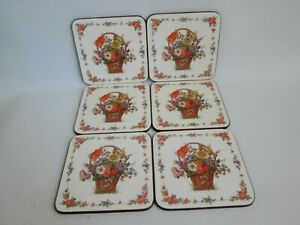 Vintage PIMPERNEL X6 Floral Basket Drinks Coasters Traditional Collection Boxed